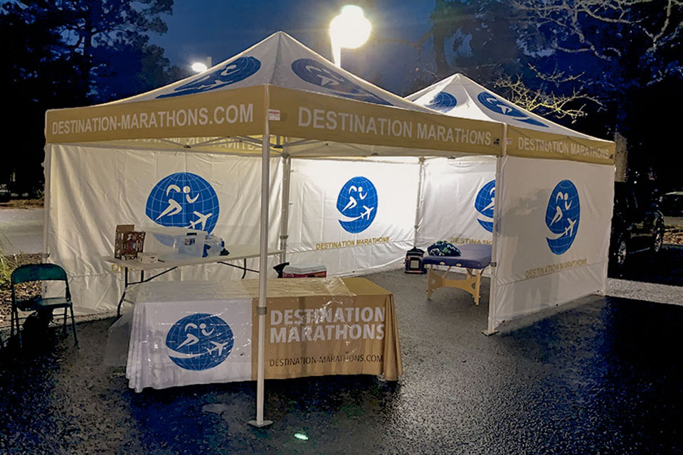 Destination Marathons - Finish line DM tent